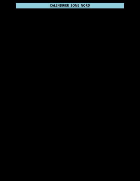 CALENDRIER ZONE NORD 2017