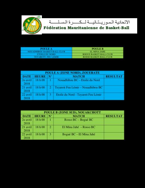Calendrier des rencontre des Play-offs 2018