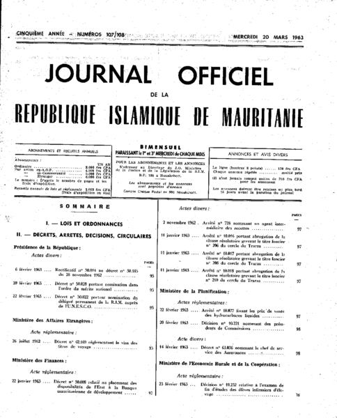Journal-Officiel-107-108, récépissé FBBRIM