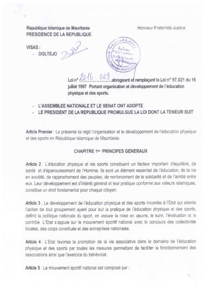 Loi 2016-029 du29 juillet 2016 sur le dév du sport Loi signée