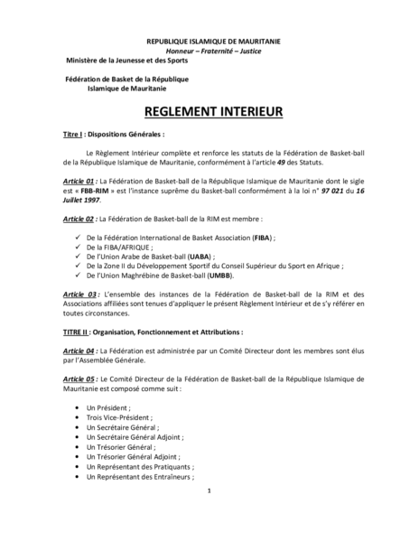 Règlement Intérieur FBBRIM 1995