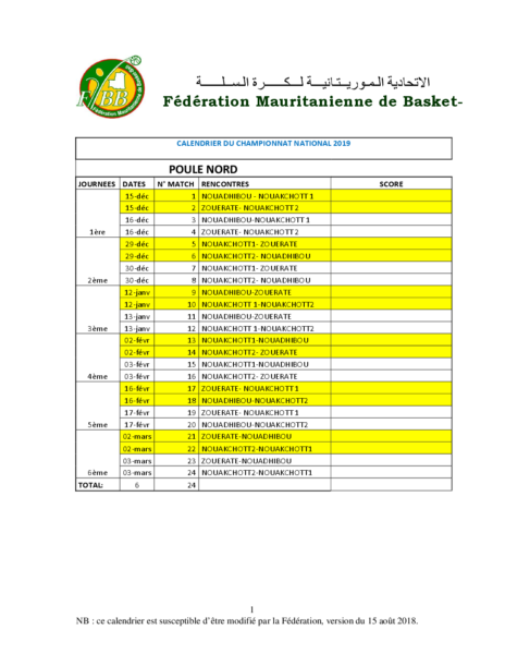 CALENDRIER DU CHAMPIONNAT NATIONAL 2019 WORD